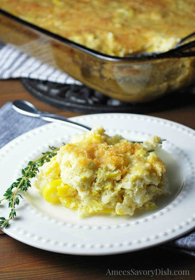 Squash Cauliflower Rice Casserole on a plate and in a baking dish