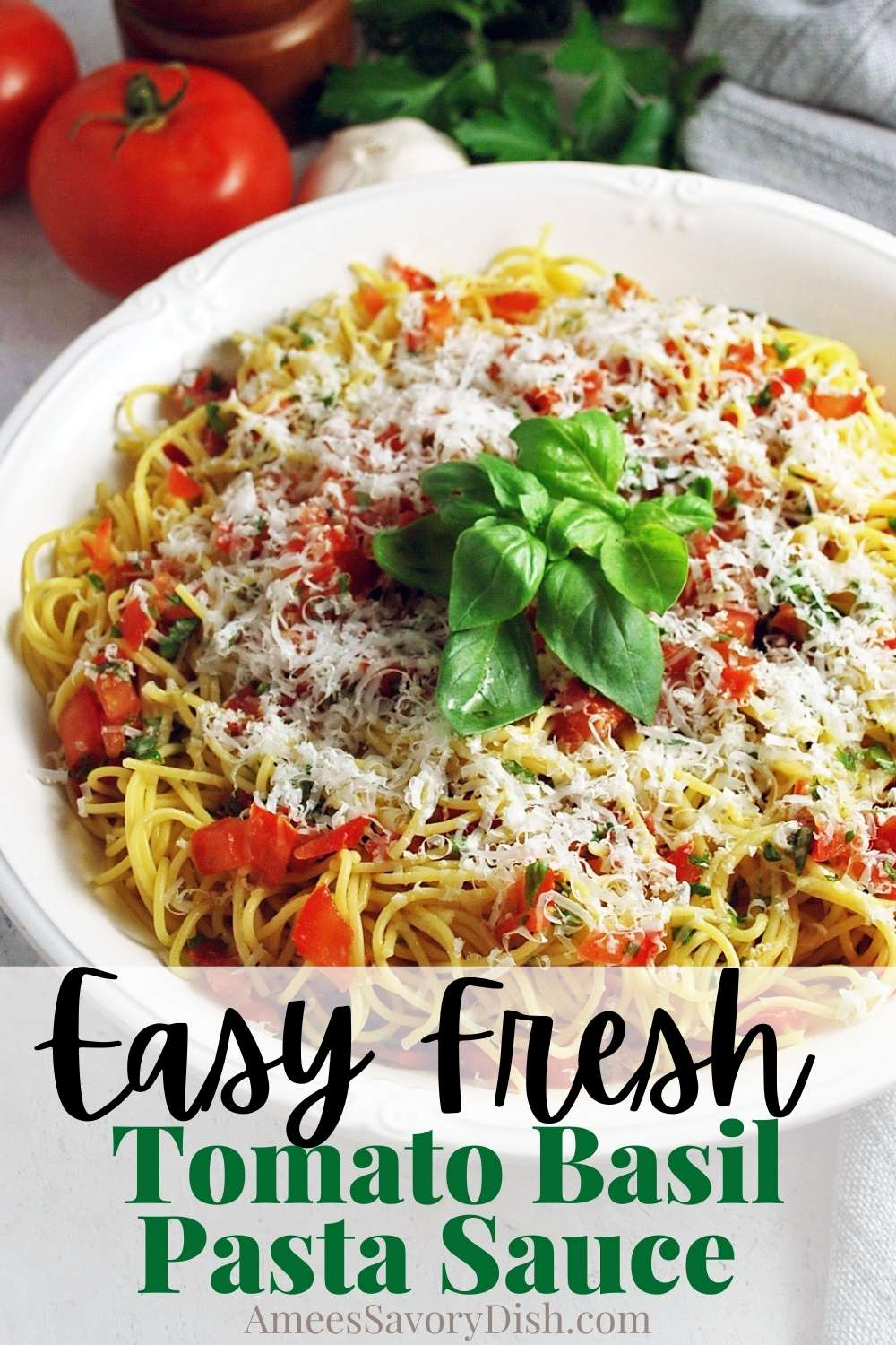 This delicious fresh tomato basil pasta sauce uses fresh garden tomatoes, olive oil, lemon zest, and herbs for a light summer pasta dish. via @Ameessavorydish