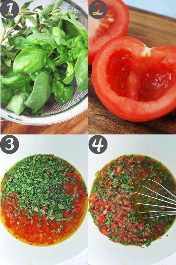 steps for making tomato basil pasta sauce: rinsing the herbs, seeding the tomato, all ingredients in a bowl, and ingredients whisked together