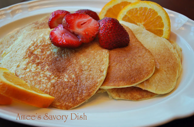 Pancakes and fruit on a plate