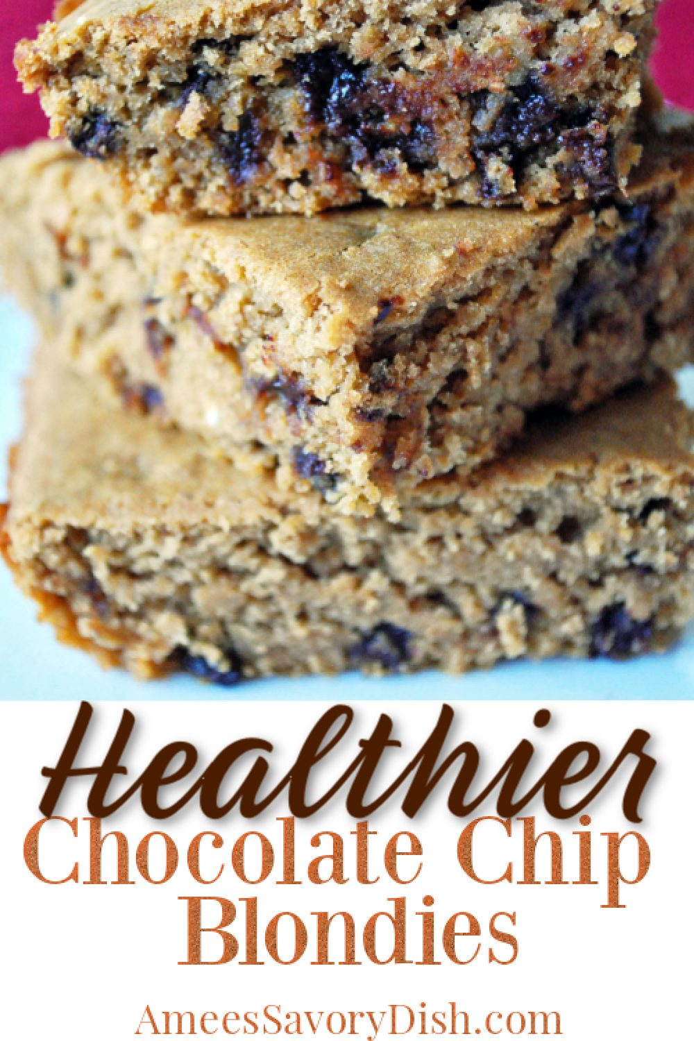 A delicious recipe for healthier chocolate chip blondies that uses a secret ingredient for added protein and fiber. These bars are moist and tasty! #beanbrownies #whitebeanblondies #healthierblondies #cleaneatingbrowines via @Ameessavorydish