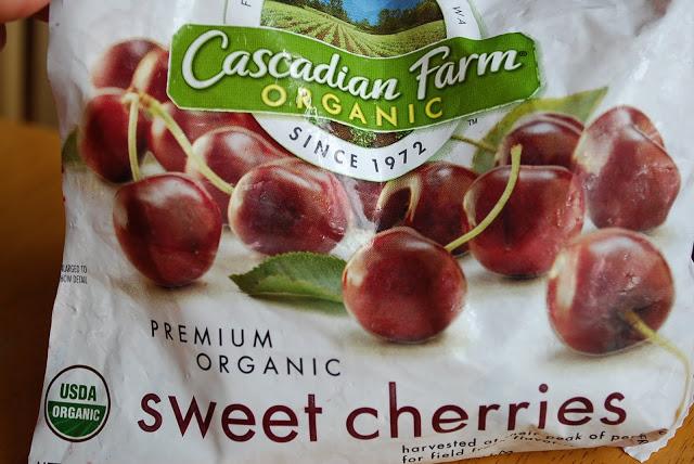 a package of Cascadian Farm organic sweet cherries