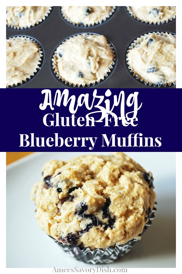These tasty gluten-free blueberry muffins are made with oat flour, butter and fresh blueberries.  A perfect morning treat. via @Ameessavorydish