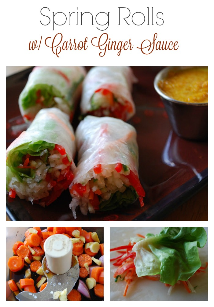 Vietnamese Salad Rolls with Carrot Ginger Sauce make a light and nutritious meal, appetizer or snack.  These tasty rolls are made with rice paper, fresh julienned vegetables and a flavorful carrot ginger sauce for dipping. via @Ameecooks