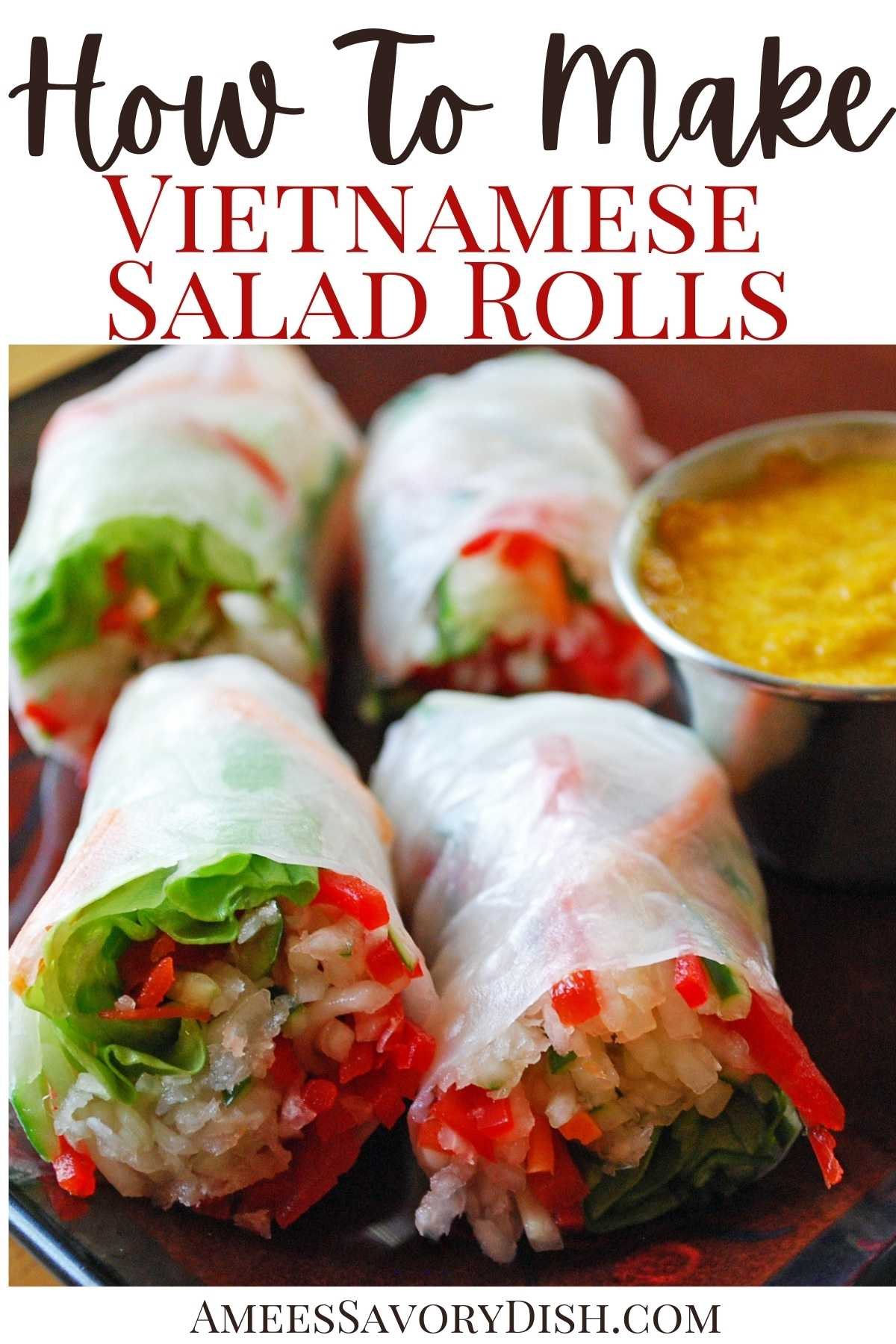 Vietnamese Salad Rolls are made with rice paper, fresh julienned vegetables, and a flavorful carrot ginger sauce for dipping.Easy, healthy, and SO delicious!! #vietnamesefood #saladrolls #vietnamesesaladrolls #ricepaperrolls #asianrecipes #easyasian via @Ameessavorydish