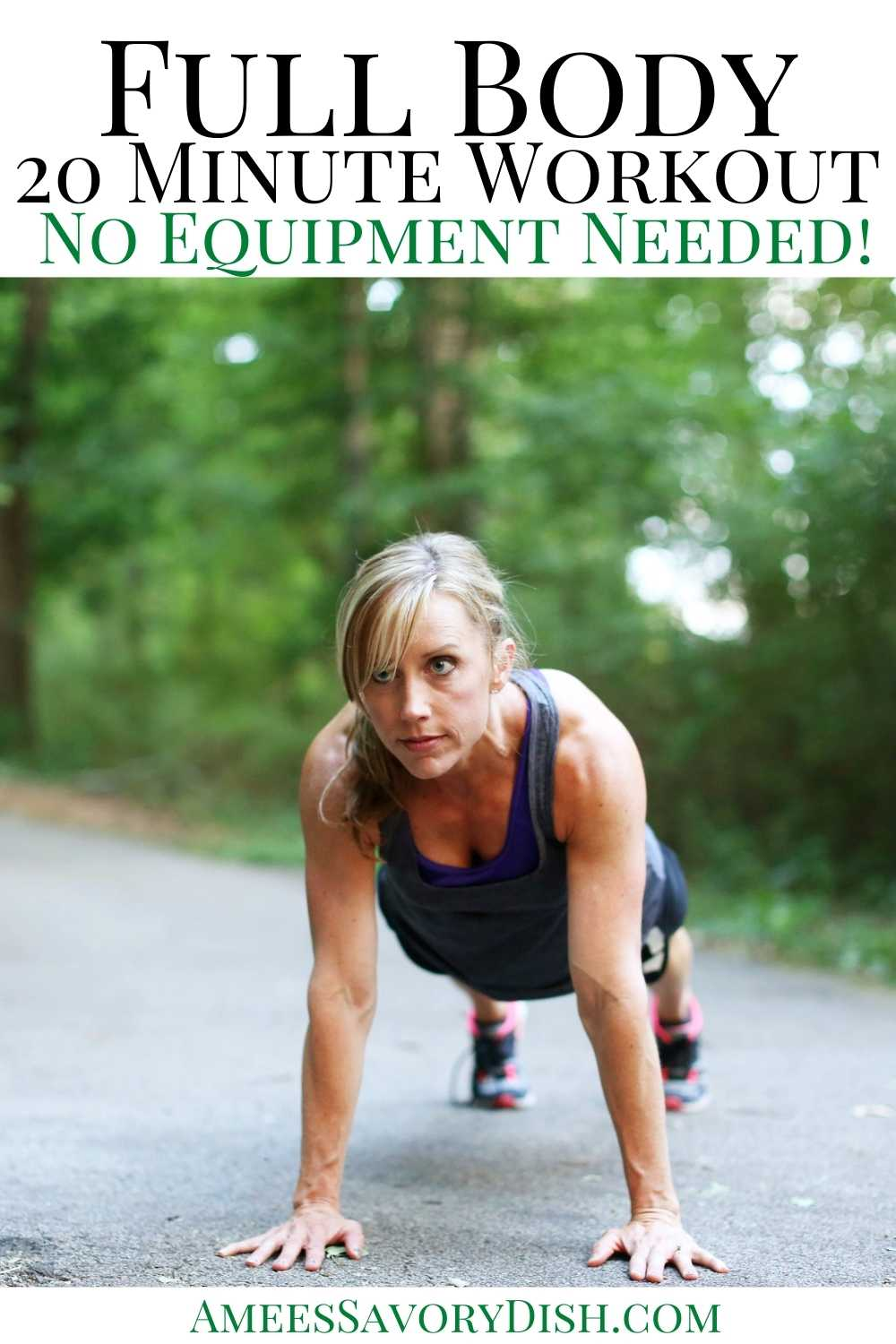 A challenging and fun 20-minute circuit workout that works the entire body. There is no equipment required, you're just using your body weight for resistance. #workoutideas #bodyweightworkout #workoutideas #noequipmentworkouts via @Ameessavorydish