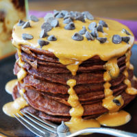 The best chocolate protein pancakes with peanut butter drizzle