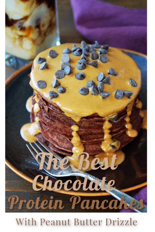 These are the best chocolate protein pancakes I've ever eaten, made with almond milk, egg whites, protein powder, high protein pancake mix, and creamy peanut butter.  The peanut butter drizzle makes them over-the-top amazing.  via @Ameessavorydish