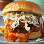 crockpot barbecue chicken sandwich on a plate