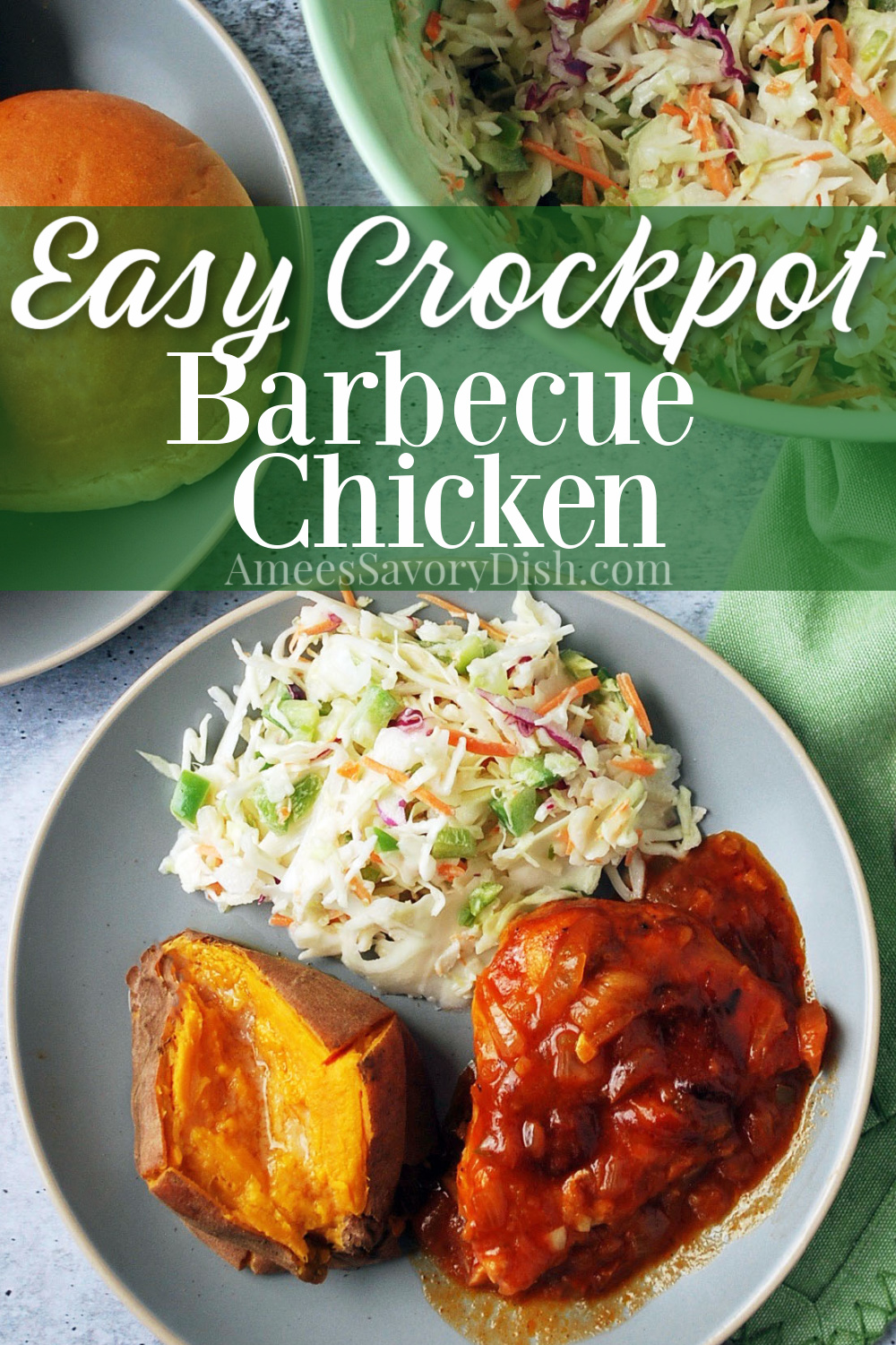 A flavorful recipe for Crockpot BBQ chicken that cooks while you go about your day!  Serve as pulled BBQ chicken or whole with your favorite sides. #crockpotBBQchicken #bbqchicken #crockpotchicken #barbecuechicken #easyhealthymeals #chickenrecipe #slowcookerbbq via @Ameessavorydish