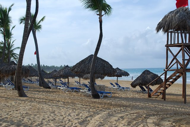 Punta Cana beach with lounge chairs