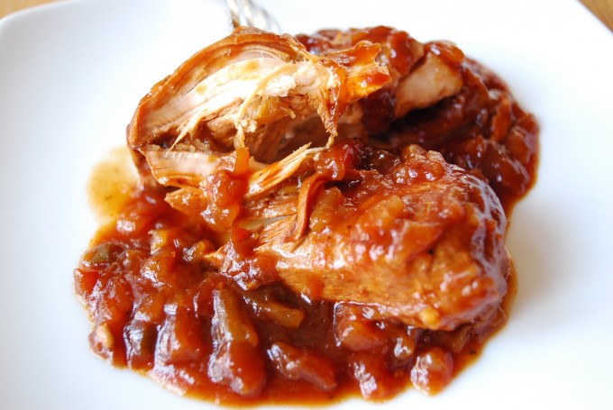 Crockpot barbecue Chicken shredded on a plate