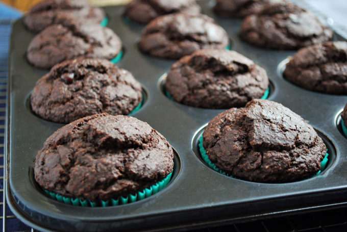 Double Chocolate Gluten-Free Bran Muffins fresh from the oven