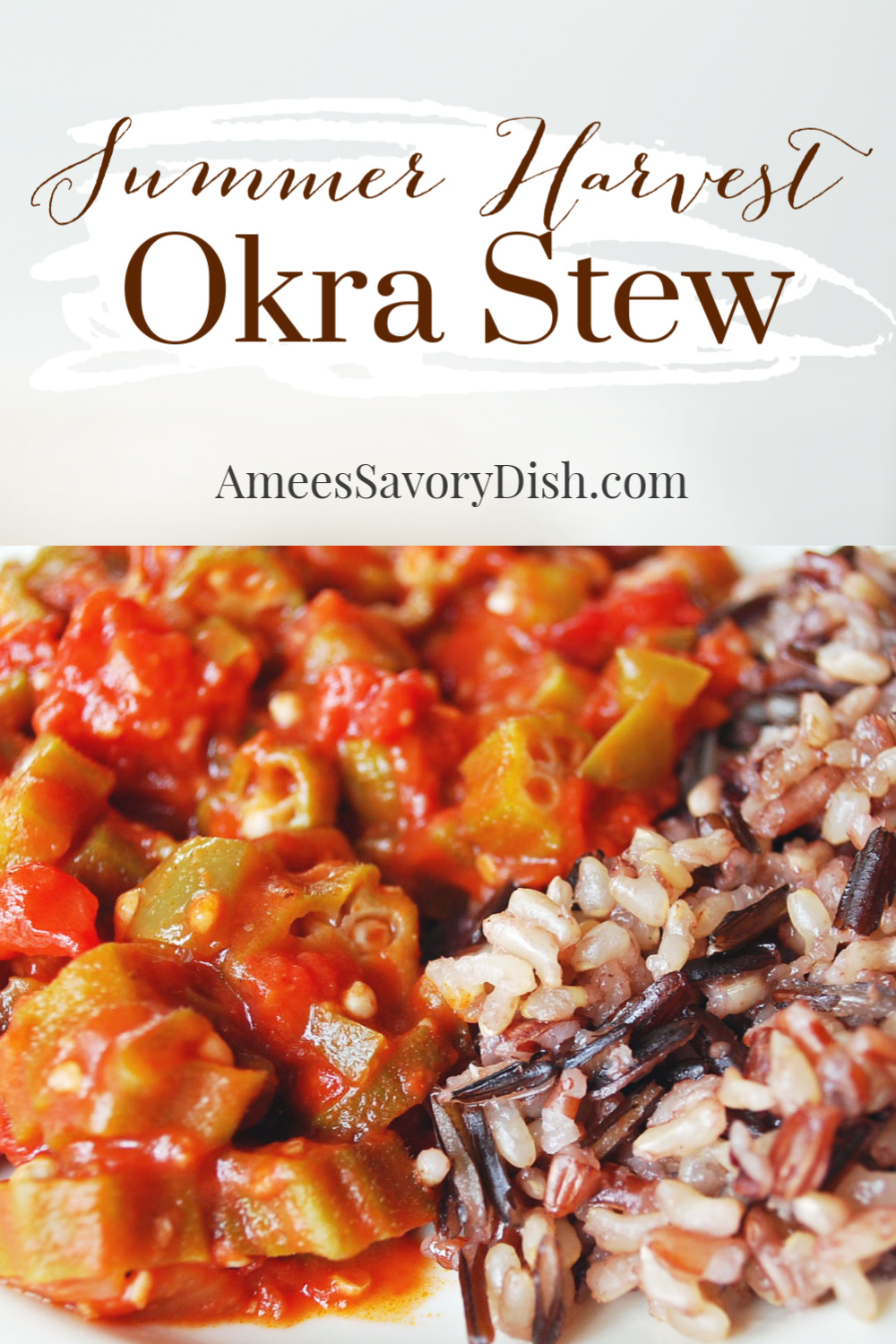 An easy summer okra stew recipe made with fresh okra, tomatoes, green beans, zucchini, olive oil, garlic, and onions.  It's the best of summer's harvest in a bowl. #okra #okrastew #okrarecipe via @Ameessavorydish