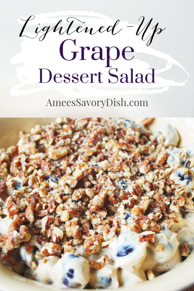 This lightened-up grape salad is a delicious and easy dessert salad recipe made with Greek yogurt, cream cheese, coconut sugar, seedless grapes, and chopped pecans.