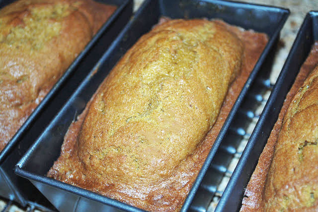My mom's recipe for the best pumpkin bread on the planet.  Seriously.