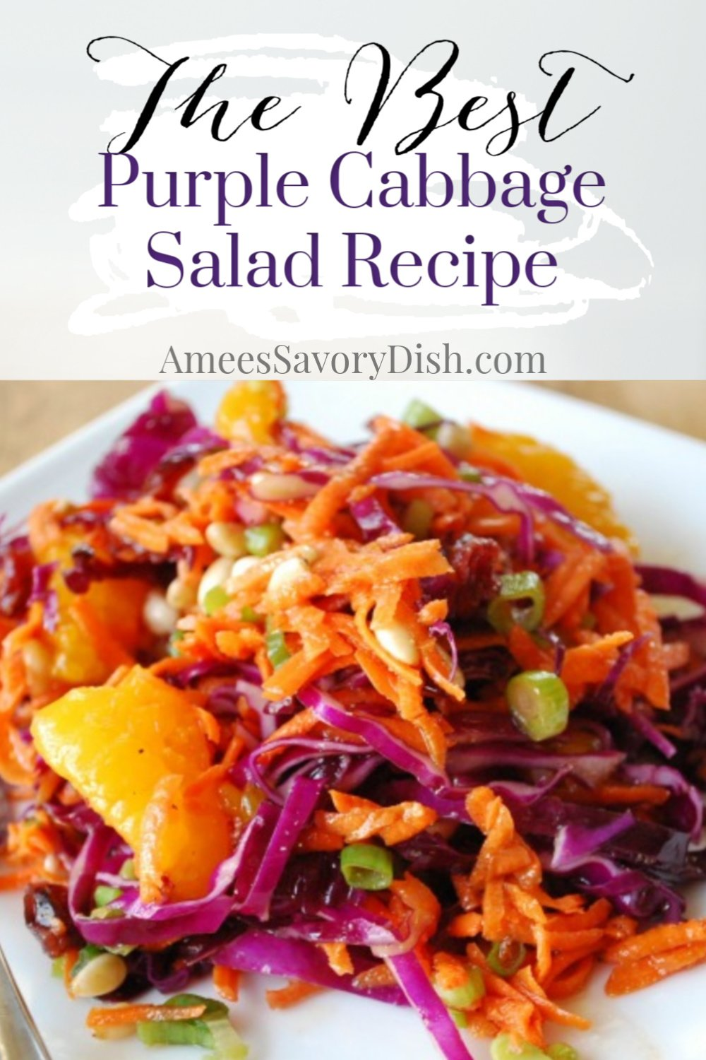 A delicious recipe for fresh purple cabbage salad made with fresh carrots, cabbage, and scallions adapted from the Passover by Design cookbook. via @Ameessavorydish