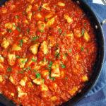 salsa chicken in a skillet