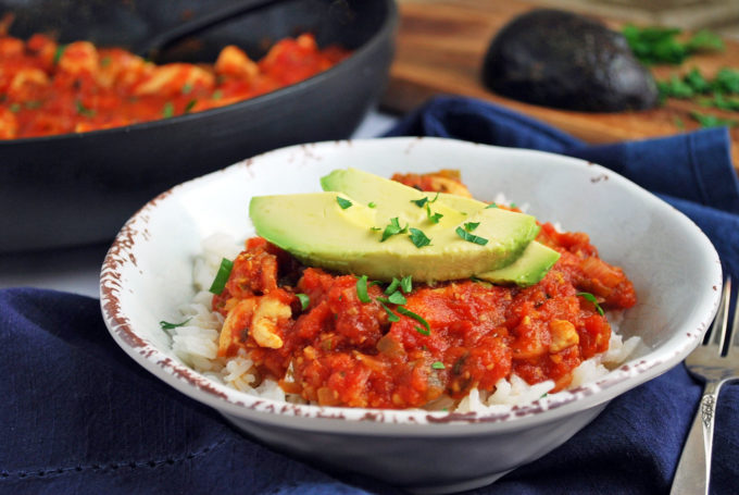 bowl of salsa chicken with fresh avocado
