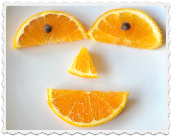 smile made from orange slices