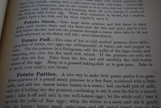 Potato Puff recipe text from a vintage cookbook