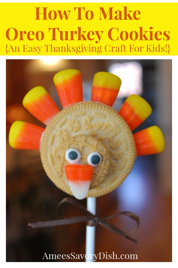 Oreo turkey cookies on a stick make the perfect Thanksgiving craft that the whole family can enjoy.  Festive turkey cookie pops are tasty, adorable and easy for kids to make while you cook the Thanksgiving feast.   via @Ameessavorydish