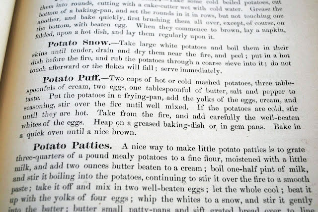 Potato puff recipe from a vintage cookbook
