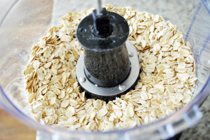 whole oats for pumpkin oat flour pancakes