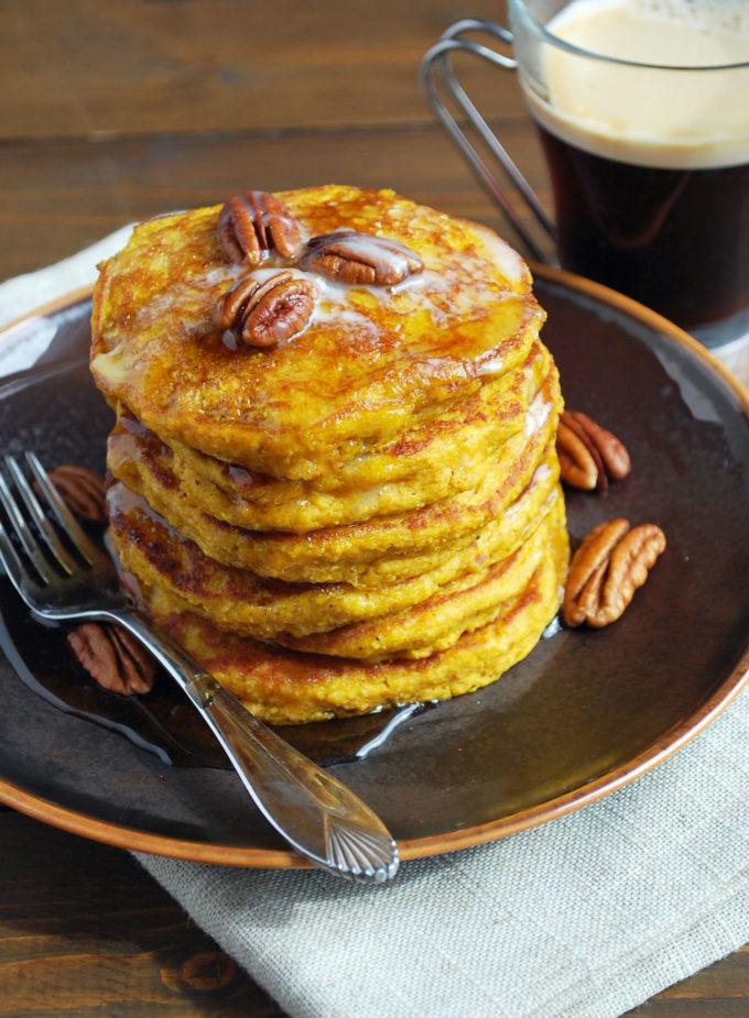 Moist and Fluffy Pumpkin Oat Flour Pancakes