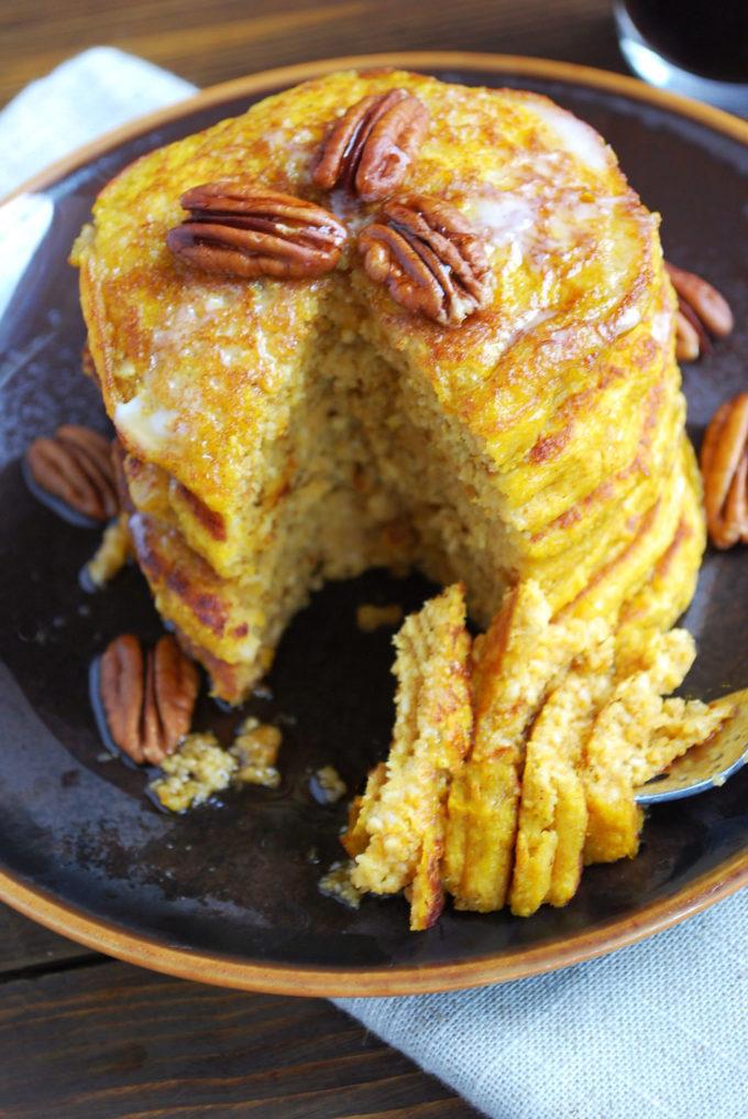Pumpkin Oat Flour Pancakes made with kefir and so moist!