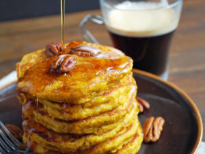 Pumpkin oat flour pancakes made with kefir recipe
