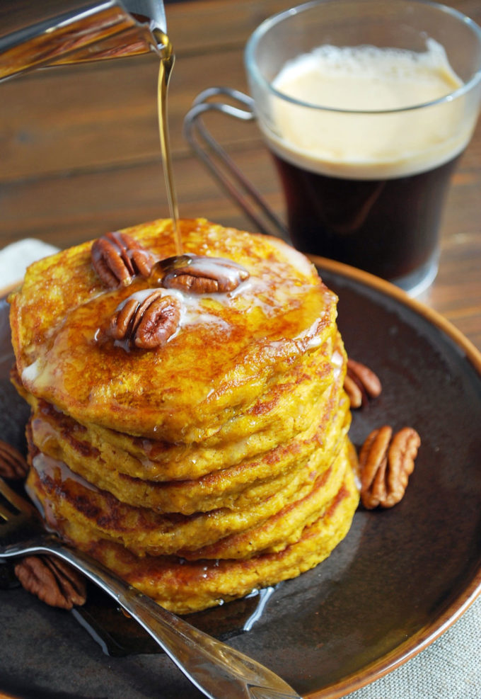 Delicious pumpkin oat flour pancakes made with kefir