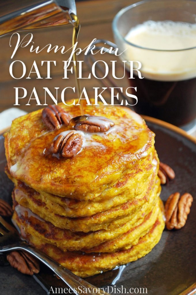 Pumpkin oat flour pancakes are wholesome pumpkin pancakes made without wheat flour, using canned pumpkin and oat flour ground from whole oats. They're hearty, moist, healthy, and delicious!