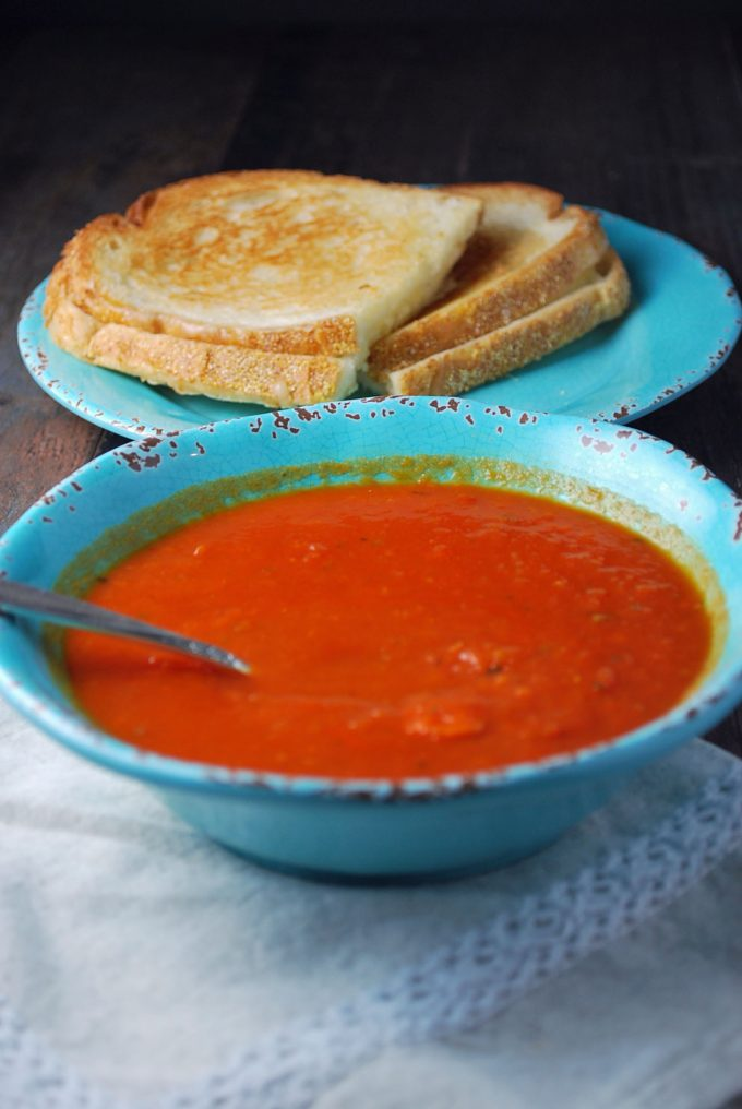 Tomato Basil Bisque and a grilled cheese sandwich