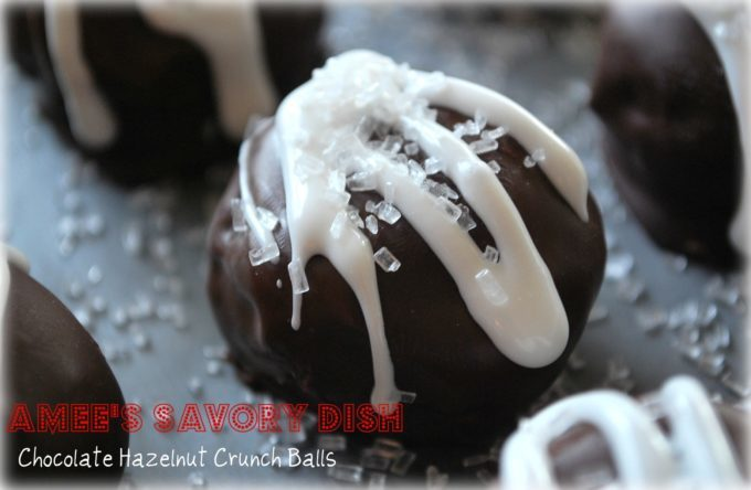 Chocolate Hazelnut Crunch Balls are a rich and delicious cake ball recipe made with creamy Nutella, chopped hazelnuts, chocolate cake and dipped in melted chocolate. These bite-size balls are perfect for a holiday party or cookie exchange.