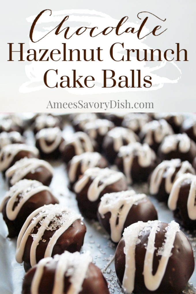 Chocolate Hazelnut Crunch Cake Balls are a rich and delicious cake ball recipe made with creamy Nutella, chopped hazelnuts, chocolate cake and dipped in melted chocolate.