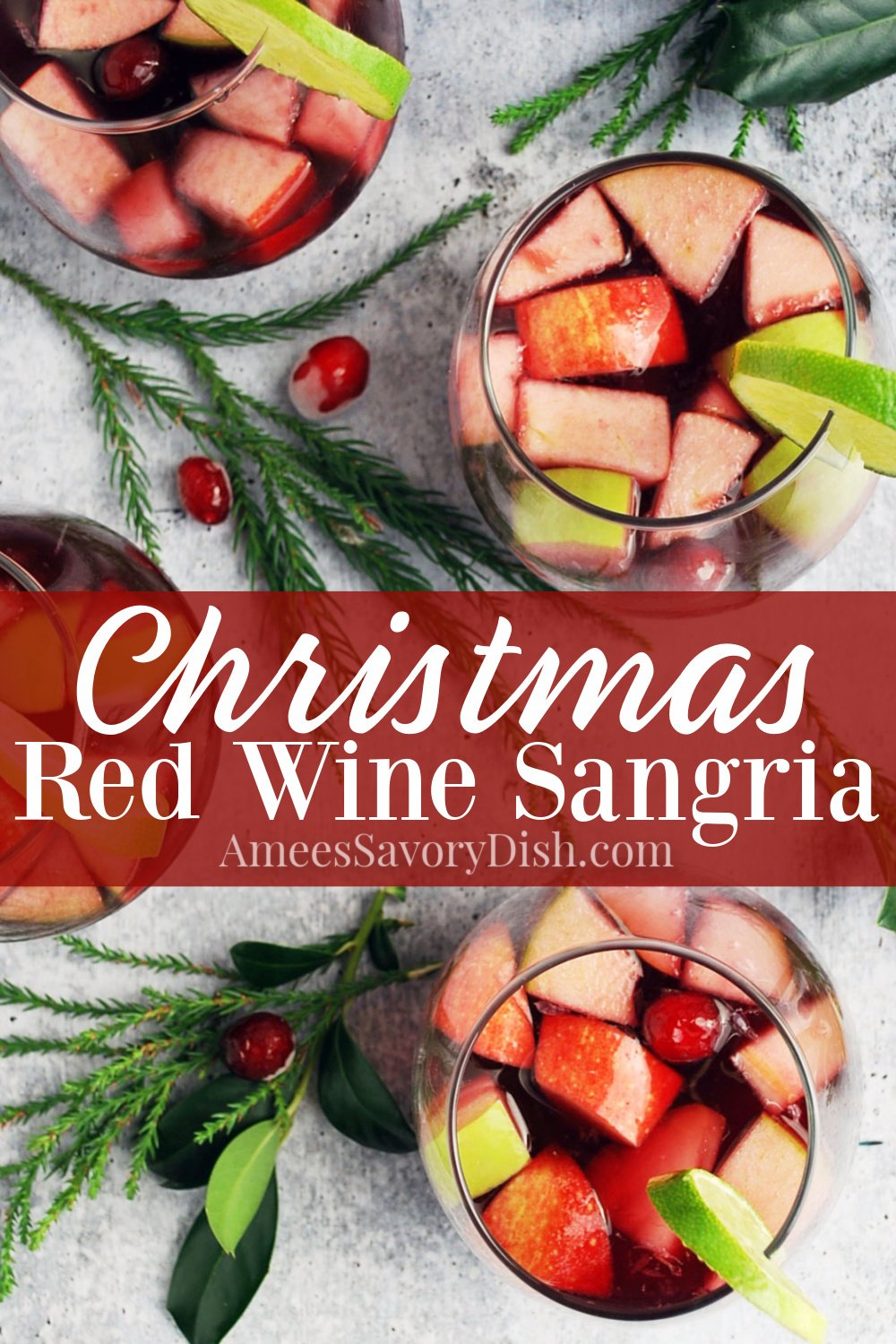 Red Wine Christmas Sangria makes a beautifully festive cocktail made with red wine, brandy, liqueur, fresh fruit, and agave nectar.  I highly recommend doubling this recipe for parties because it disappears fast! #christmascocktails #christmassangria #holidaysangria #sangriarecipe #redwinesangria via @Ameessavorydish