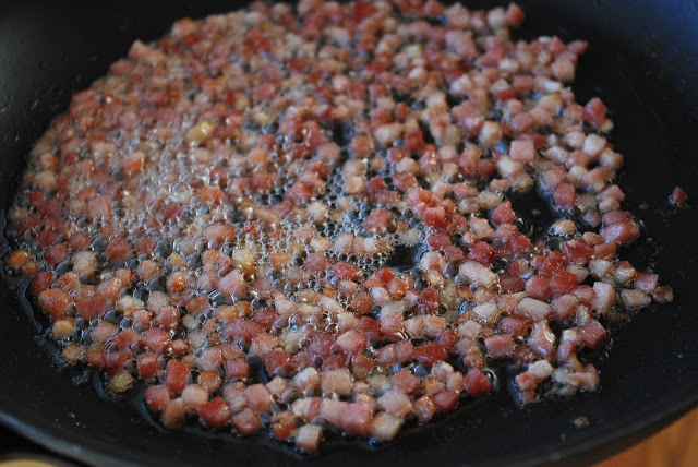 chopped pancetta cooking in a skillet
