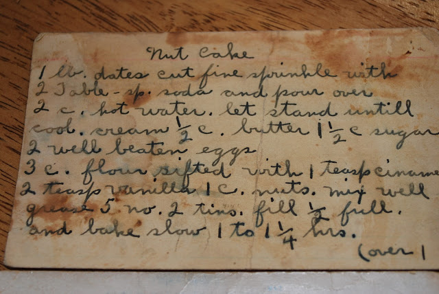 hand-written recipe of nut cake on an index card