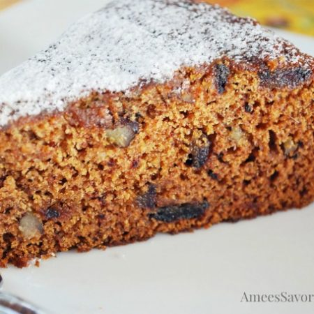 a slice of date nut cake