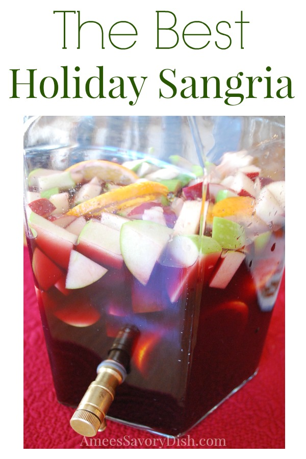 Red Wine Holiday Sangria makes a beautifully festive cocktail made with red wine, brandy, liqueur, fresh fruit and agave nectar.
