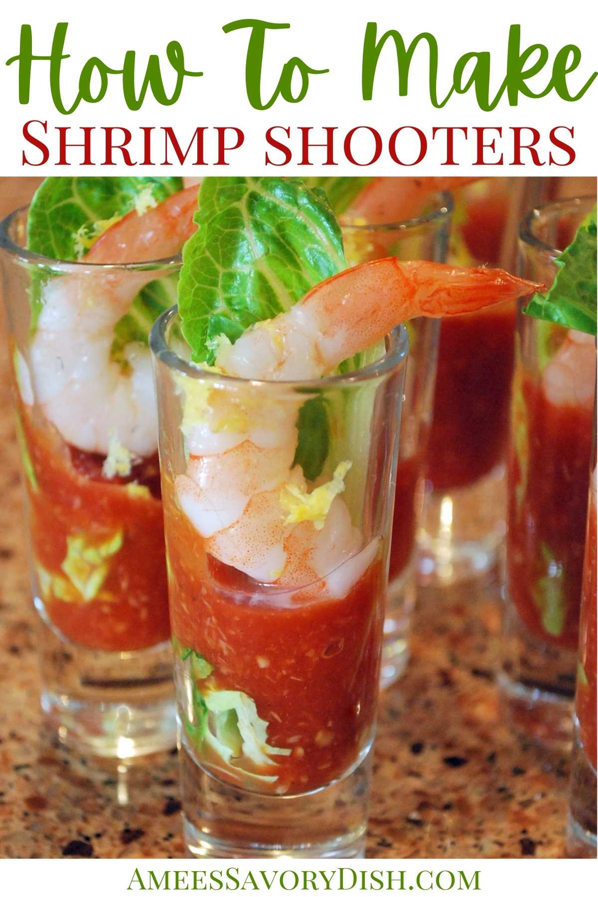 A simple, yet elegant recipe for shrimp shooters with a homemade cocktail sauce that are perfect for your next party or holiday gathering. via @Ameessavorydish