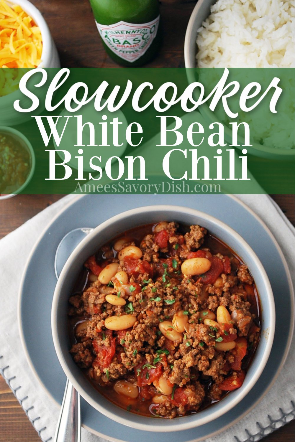 White bean bison chili is a healthier slow cooker chili recipe, loaded with excellent protein, fiber, lycopene, and good quality carbohydrates. Not to mention, it's super easy to make and incredibly delicious!! #bisonchili #bisonrecipe #chilirecipe #slowcookerchili #slowcookerrecipe #crockpotchili via @Ameessavorydish