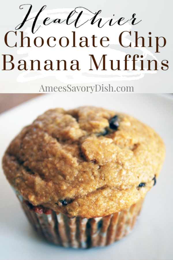 A healthier recipe for chocolate chip banana muffins made with whole grain wheat and oat flour, Greek yogurt, ripe bananas, and coconut oil. via @Ameessavorydish