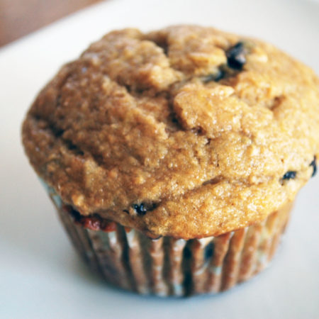 Chocolate Chip Banana Muffin on a plate