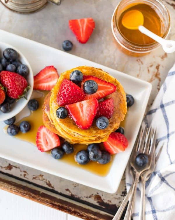 gluten free coconut flour pancakes with fresh berries