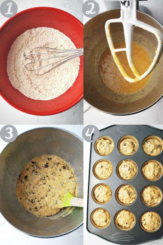photos of steps for making muffins