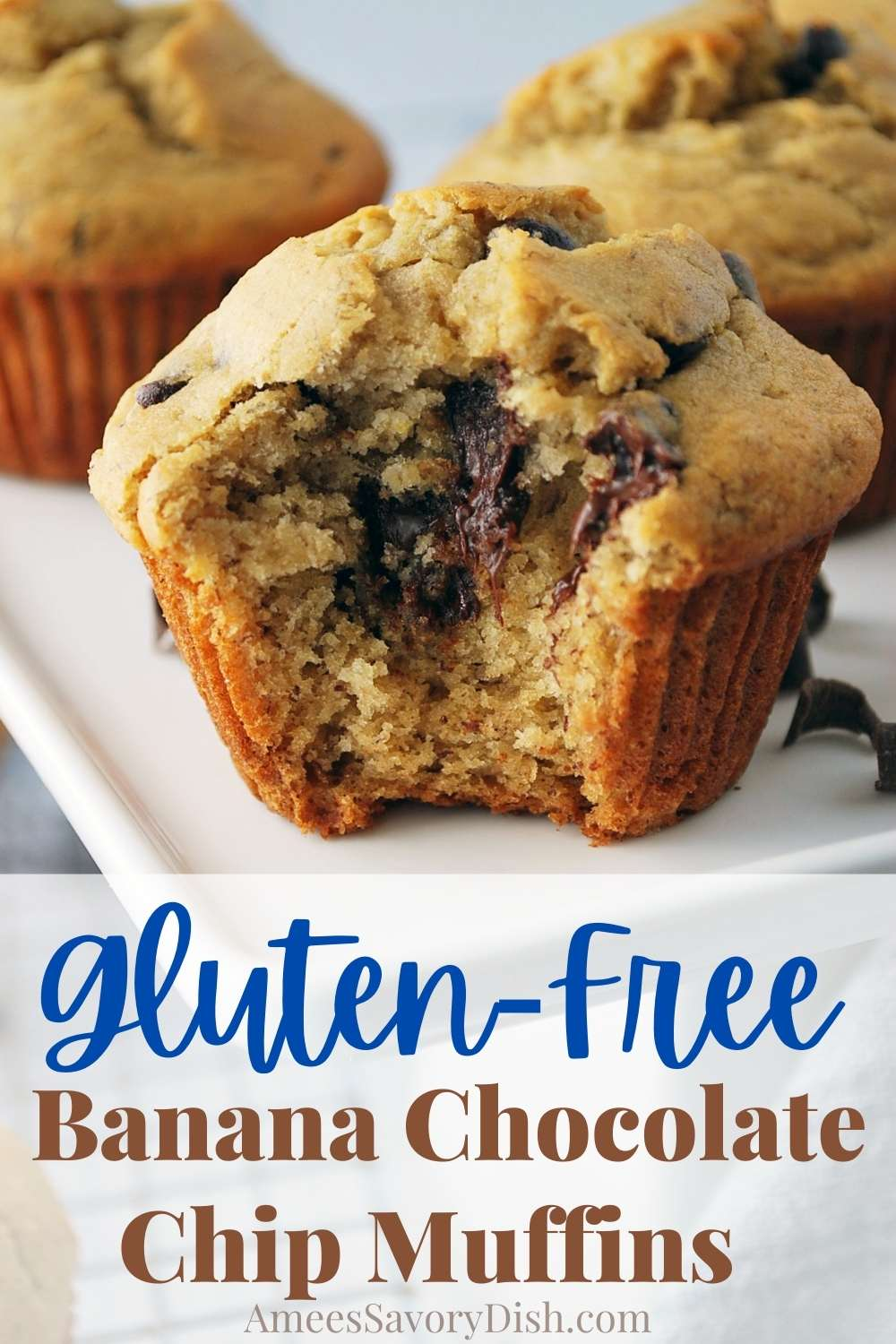 A delicious recipe for gluten-free banana chocolate chip muffins made with ripe bananas and wholesome ingredients that you can find anywhere. via @Ameessavorydish