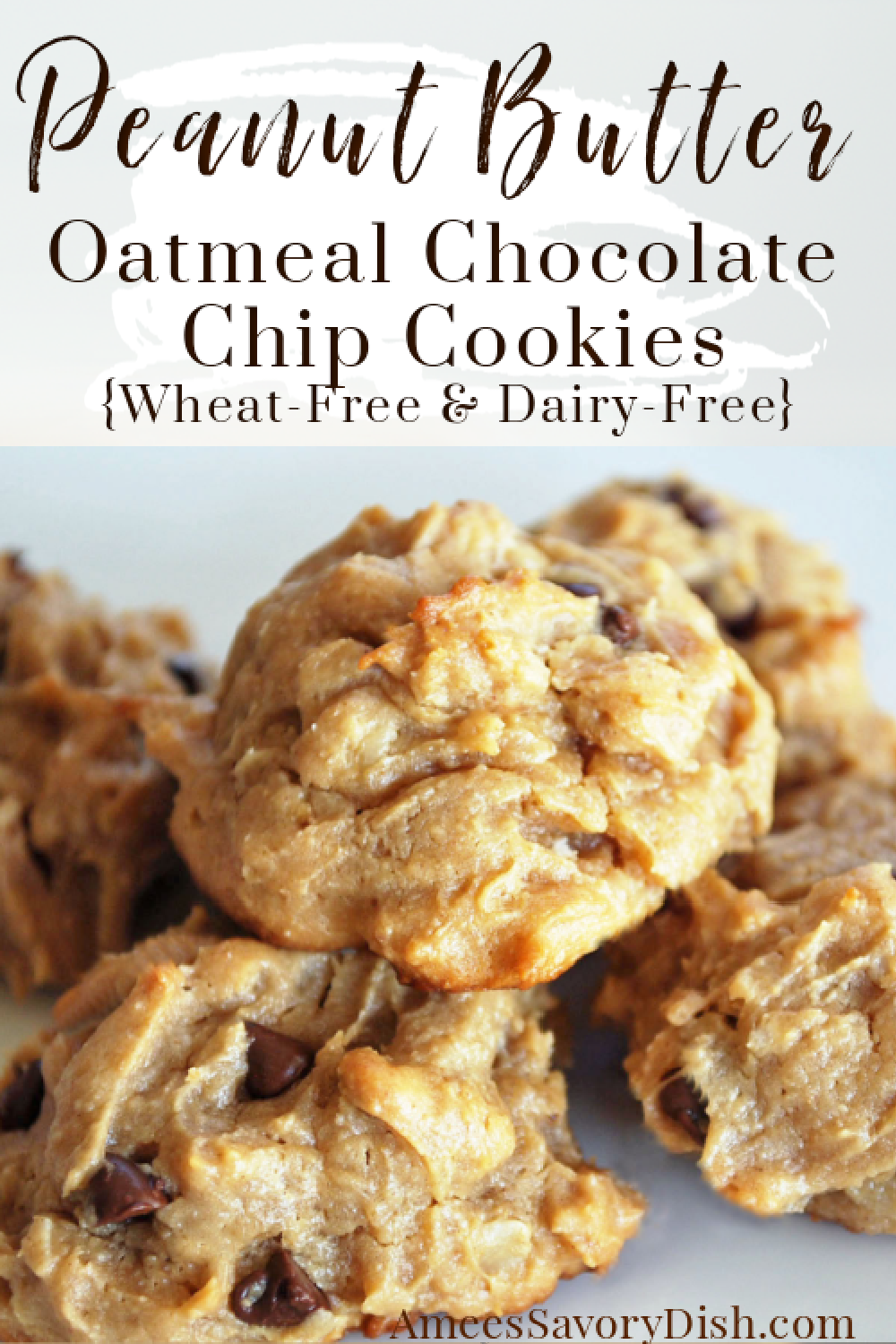 These peanut butter oatmeal chocolate chip cookies are a delicious wheat-free and dairy-free cookie recipe made with oats, peanut butter, and semisweet chocolate chips. #wheatfreecookies #dairyfreedessert #healthiercookies #peanutbuttercookies #cookierecipe via @Ameessavorydish