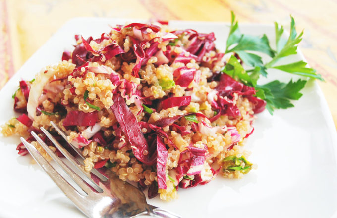 Delicious and healthy quinoa salad recipe with cranberries and pistachios
